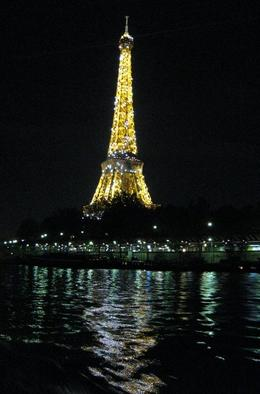 the Eiffel is lit up at the top of every hour, our river cruise docked as it was being lit up, Albert R - November 2009