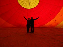 Photo of Las Vegas Las Vegas Sunrise Hot Air Balloon Ride inside the envelope of our balloon during the filling process