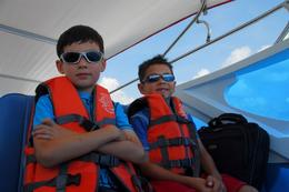 Safety first! The boys on the Krabi speedboat., Jeff - May 2008
