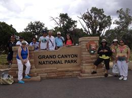 Famous photo at the Grand Canyon sign, Rachel - October 2012