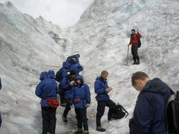 Photo stop on the glacier, only half way up. As can see wet weather gear provided as well as boots and cramp-ons. It was rainy day in November with sunshine intermittent, but when it was out, we ...  - November 2009
