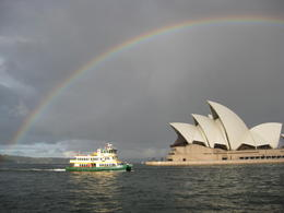 Rainbow frames a ferry and the Opera House , Wendy O - April 2011