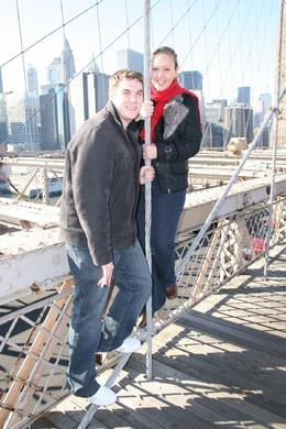 Joanne and Ashley half way across the Brooklyn Bridge with the skyline behind., Joanne H - December 2007