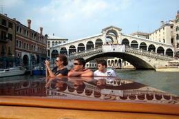 Laura Kostrzebski and sons Geoffrey and Brad from Woodbridge, VA on Grand Canal Boat Tour. Venice, Italy, July 4, 2011. , Lana C G - July 2011