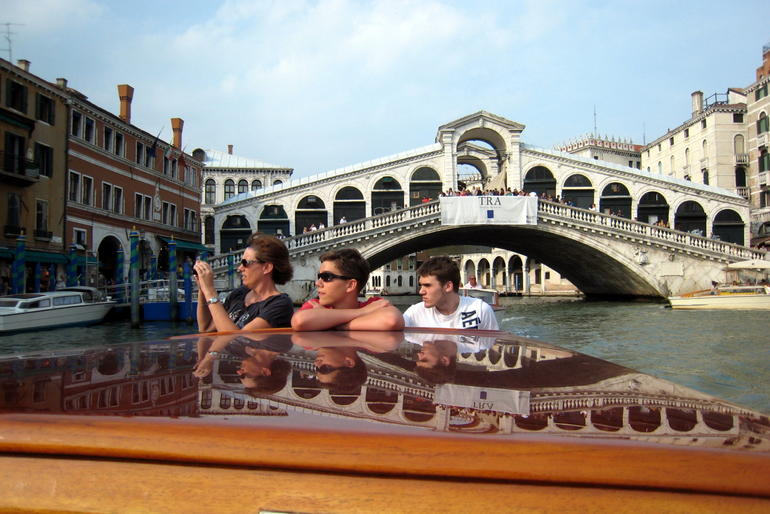 Laura, Geoffrey, Brad on Grand Canal Cruise - Venice, Italy July 2011 fixed - Venice