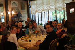 Our group enjoying the wonderful food, wine, and fellowship while dining next to the Grand Canal of the Palace. , Kevin F - June 2013