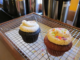Chocolate and Red Velvet cupcake - both with Brown Sugar Butter frosting - dusted with cinnamon. , Toni-Lynn M - July 2014