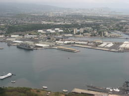 We flew right over Pearl Harbor. You can see the Arizona Memorial on the left and Pearl Harbor straight ahead!, Bandit - February 2011