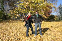 Joanne and Ashley with all the leaves in Central Park., Joanne H - December 2007