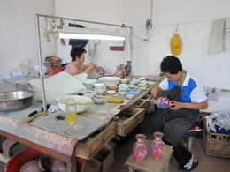 More workers at the Cloisonné factory. Was really cool to see the way they worked., Julie - June 2012