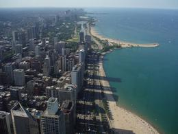 This is a view of Lake Shore Drive from the Hancock Tower. We thought the Hancock Observation Deck was more informative than the Sear Tower. The audio tour at the Hancock, which comes with the City ... , Carl R - July 2009
