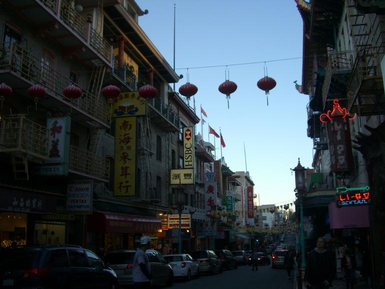 Neon signs & hanging lanterns, San Francisco's Chinatown at dusk - San Francisco