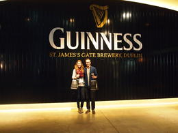 With our pints and goodie bags from the Connoisseur Experience, Rachel - March 2014
