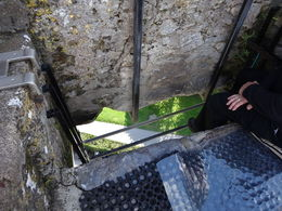 This is the Blarney Stone, you hang your head over the edge, hold onto the rails and kiss the stone. , Scott L - September 2015