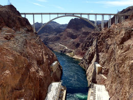 A view of the bypass bridge from Hoover Dam. , Rod P - October 2015