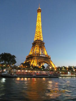 Photo of Paris Seine River Hop-On Hop-Off Sightseeing Cruise in Paris Eiffel Tower at night