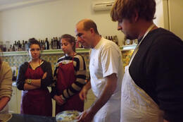 Photo of Rome Small-Group Cooking Lesson in Rome Fabio teaching