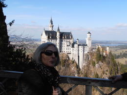 Linda enjoying the view of Neuschwanstein in March 2014 , Tony E - March 2014