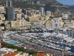 The beautiful harbor of Monte Carlo filled with boats and yachts. - October 2009