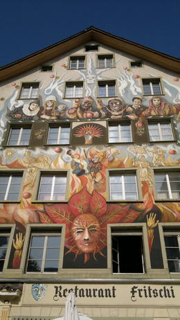 Beautiful murals coated the walls of many of the restaurants in the town center. , Sara from NZ - October 2011