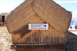 Post office of the Uros. They said you can send postcards from the only floating post office in the world. I was a bit skeptical, Bandit - July 2014