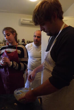 Brandon is getting the fresh ricotta and artichoke filling ready. , Mfair5 - March 2012