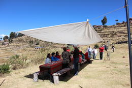Enjoying lunch on Taquile Island - with beautiful views!, Bandit - July 2014