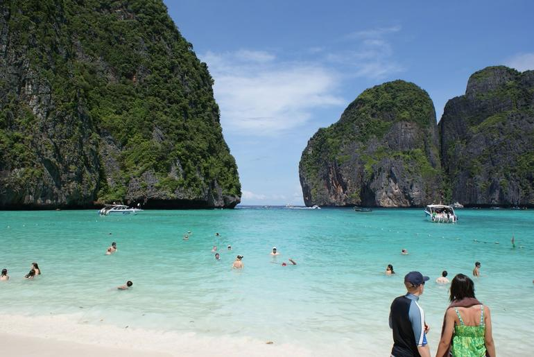 This is Maya Bay on Phi Phi Don, where they filmed the movie, The Beach