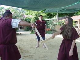 2 friends learn moves. We were learning sword fighting moves - offensive and defensive., Dana E - July 2008