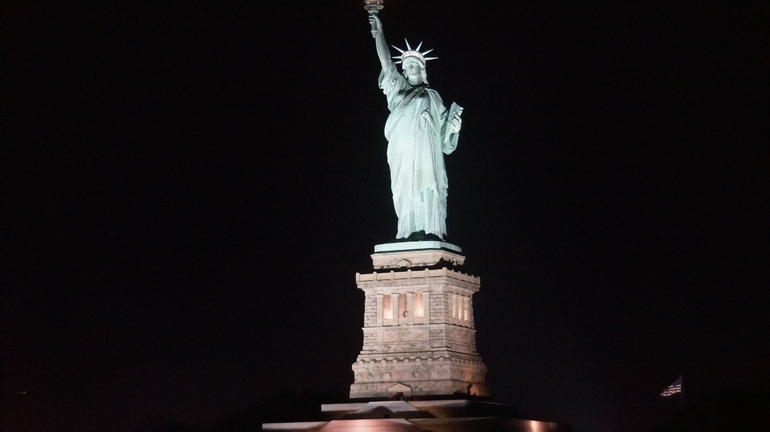 The Statue of Liberty by night