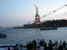 We passed the Statue of Liberty twice during the dinner cruise, and had great views both times., James F - July 2009