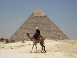 Photo of Cairo Private Tour: Giza Pyramids and Sphinx Camel in front of second pyramid