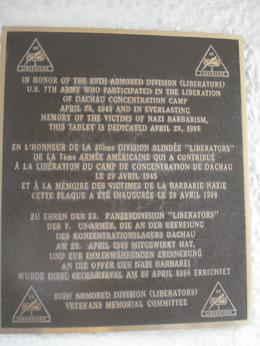 The date of Dachau liberation remembered in this dedicated plaque., David F - June 2010
