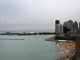 A view of Navy Pier and a Lake Michigan beach from an apartment building on Lakeshore Avenue , Leah - May 2011