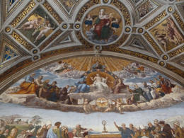Vatican Museums tour, Raphael's Rooms, Disputation over the Most Holy Sacrament, painted 1508 - 1511! , THOMAS V - August 2012