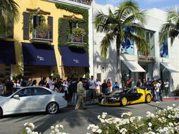 While riding along Rodeo Drive in Beverly Hills, we saw the owner of Bijan's fancy sports car out in front of his shop. Quite a crowd was gathering around it and taking photos. , Patricia L - May 2011