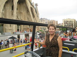 Laura Estrada enjoying Barcelona from the double decker. Being able to get on and off to see the beautiful Sagrada Familia and many other incredible attractions/landmarks was a plus. , LAURA E - October 2014