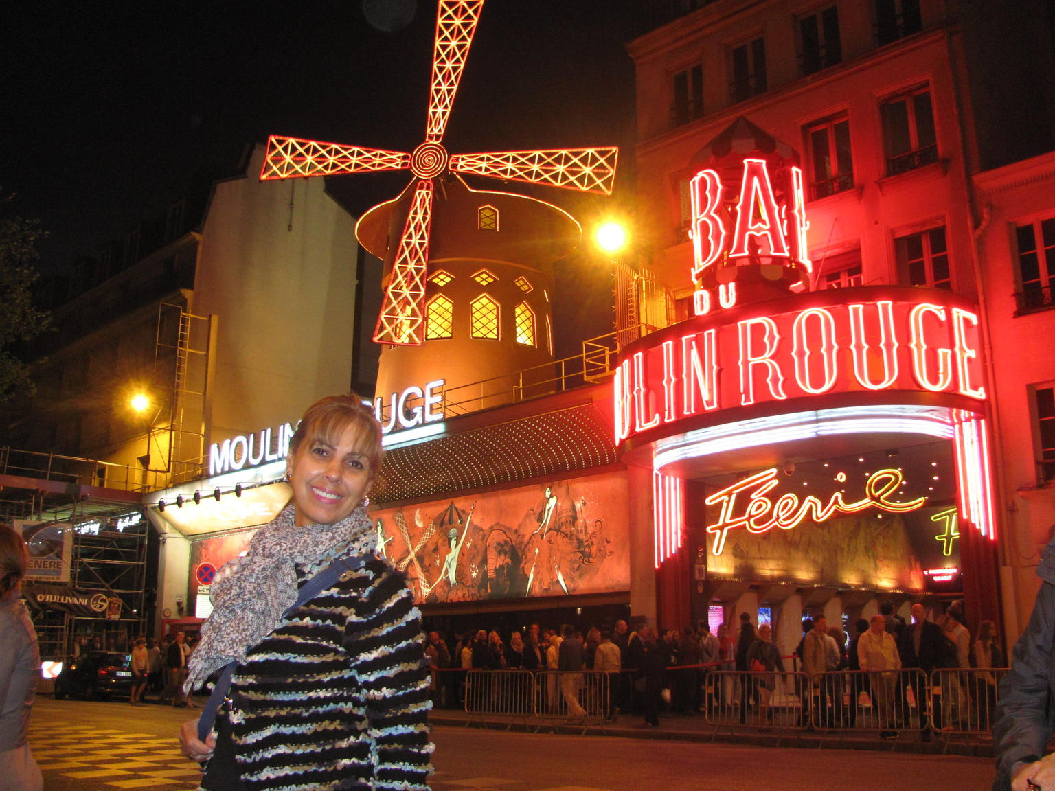The Moulin Rouge at night.