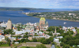 Hot air balloon view: Quebec City skyline and St Lawrence River - May 2011
