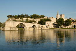 Pont d'Avignon and Rhone river in Avignon, France - May 2011