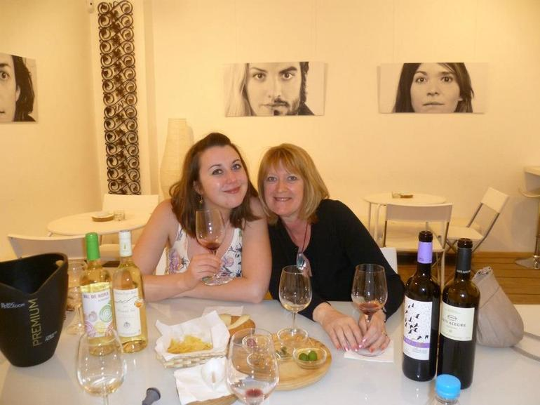 Us supping the wine! - Barcelona