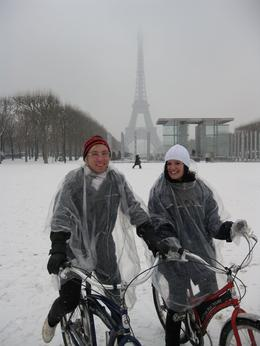 Photo of Paris Paris Bike Tour All rugged up in front of the Eiffel Tower