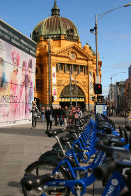 Melbourne has one of those bike rental schemes like Paris. The city itself is pretty flat so Melbourne lends itself to bikes... but then trams are plentiful, so you have choices! , ROD C - September 2012