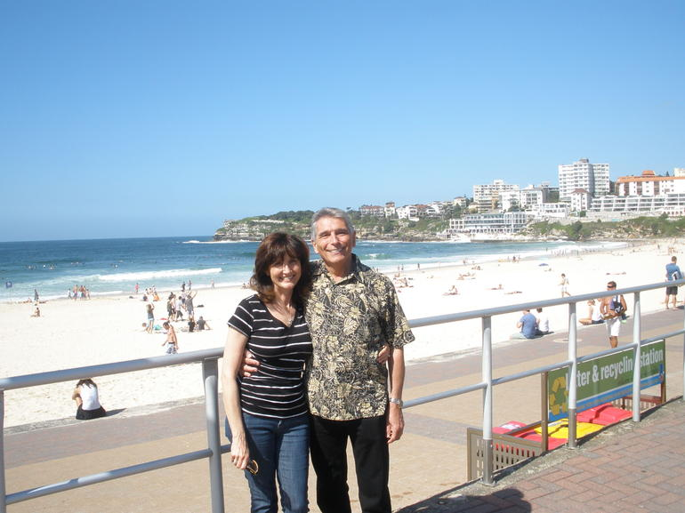 George and Cynthia Winston, afternoon stroll on Bondi Beach