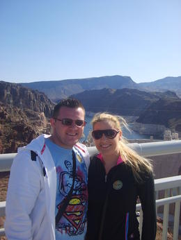 Photo of Las Vegas Ultimate Hoover Dam Tour Us, on the bridge, Hoover Dam behind us