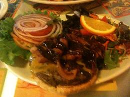Dining on an organic beef burger and salad at the Templeton Driner in downtown Vancouver. Not to be missed! , John G - April 2012