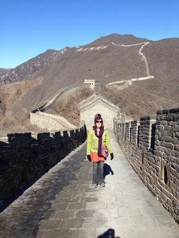 Ruth Smart on the Great Wall at Mutianyu. Lovely cold but clear and sunny day. Lots and lots and lots of steps...... , Ruth S - March 2013