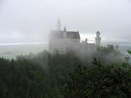 Castle in the clouds from the bridge over the waterfall. - July 2008