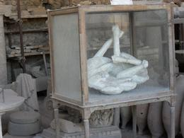 This was one of the casts on display in Pompeii of a dog. Others included a pregnant woman and a squatting man. - September 2009