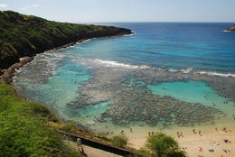 Hanauma Bay with people snorkeling on the reef , Margaret - May 2011